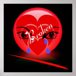 Impresión del corazón quebrado impresiones