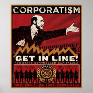 Impresión del corporatismo póster