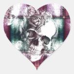Impresión del cráneo y de la transparencia de los calcomanías de corazones