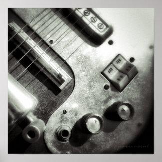 Impresión del cuadrado de la guitarra eléctrica póster