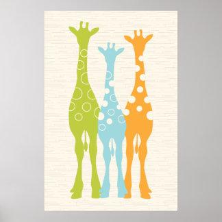 Impresión del cuarto de niños de la jirafa posters