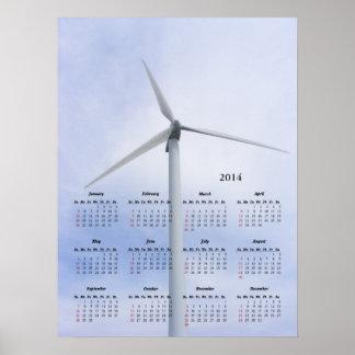 Impresión del del calendario de la turbina impresiones