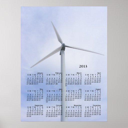 Impresión del ~ del calendario de la turbina póster