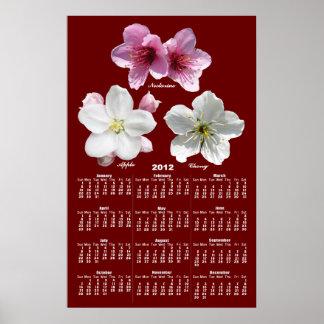 Impresión del ~ del calendario del flor de la póster