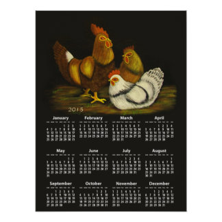 Impresión del del calendario del gallo y de las