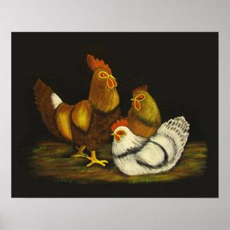 Impresión del del gallo y de las gallinas posters
