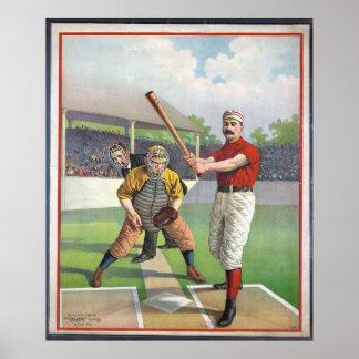 Impresión del deporte del vintage del béisbol póster