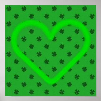 Impresión del día de St Patrick del corazón del tr Póster
