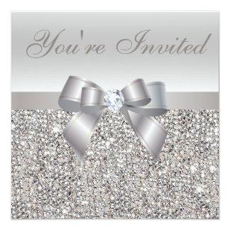 Impresión del diamante de las lentejuelas de la invitacion personal