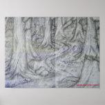 Impresión del dibujo de lápiz de la naturaleza posters