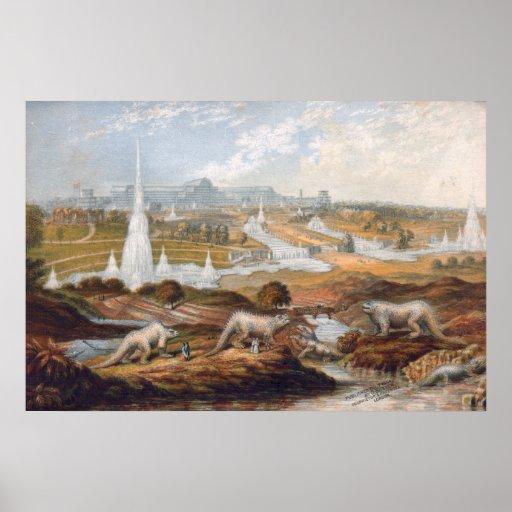 Impresión del dinosaurio de la era del Victorian Poster