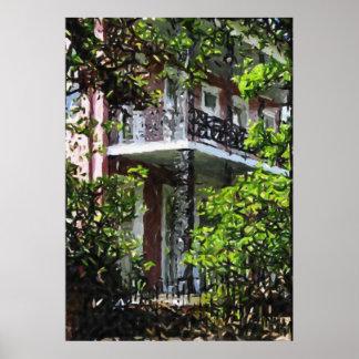 Impresión del distrito del jardín de los balcones  póster