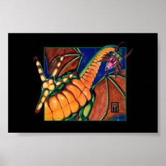 Impresión del dragón de MtG Shivan en negro Posters