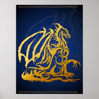 Impresión del dragón del oro poster