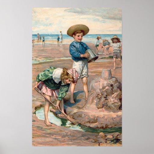 Impresión del ejemplo de la playa del vintage del póster