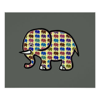 impresión del elefante para las paredes póster