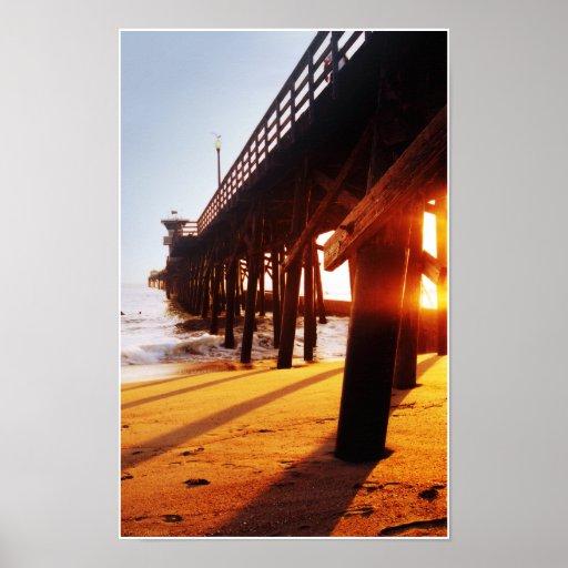 Impresión del embarcadero 06 de la playa del sello posters