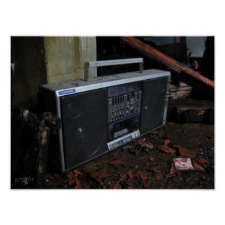 impresión del equipo estéreo portátil 15x11 póster