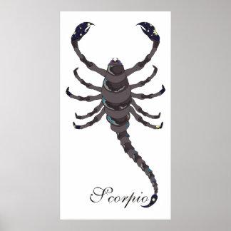 Impresión del escorpión de la luz de las estrellas póster