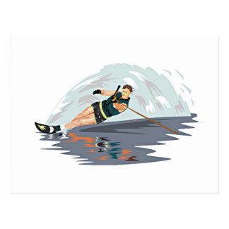 Impresión del esquí acuático tarjetas postales