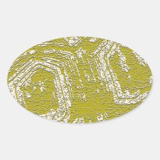 Impresión del extracto de la concha de la mostaza pegatina ovalada