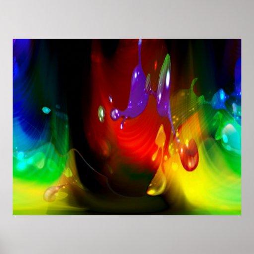 impresión del extracto del chapoteo del color póster