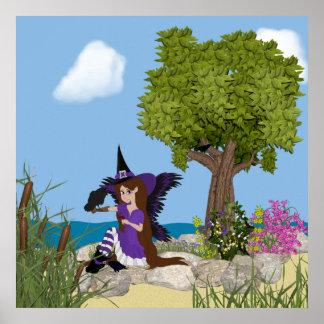 Impresión del Faery de la bruja del cuervo Poster