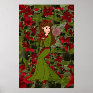 Impresión del Faery del navidad del Poinsettia Poster