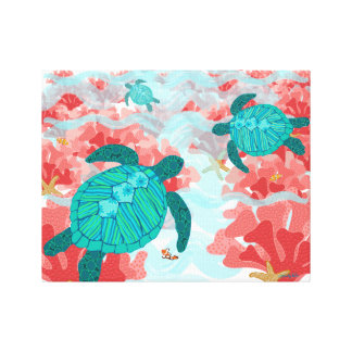 Impresión del filón de la tortuga - coral, estrell lona envuelta para galerias