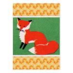 Impresión del Fox rojo del vintage Plantilla De Tarjeta Personal