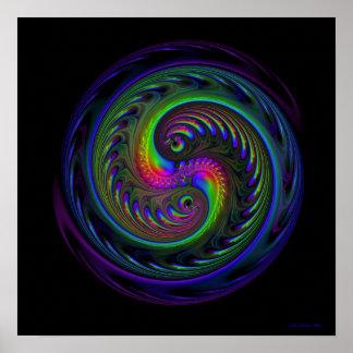 Impresión del fractal de Koi Yin Yang Poster