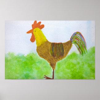 Impresión del gallo de la acuarela póster