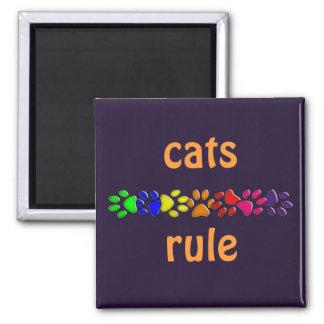 impresión del gato del arco iris imán cuadrado
