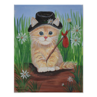 Impresión del gato del hobo póster