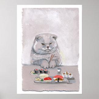 Impresión del gato del sushi - Sr. Grumps Póster