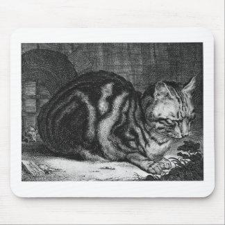 Impresión del gato del vintage alfombrillas de ratón