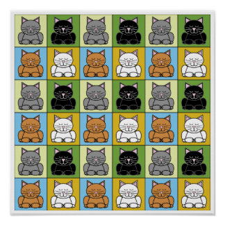 Impresión del gato del zen pequeña póster