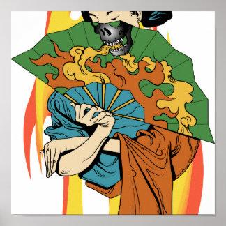 Impresión del geisha del cráneo del fuego de la ll poster