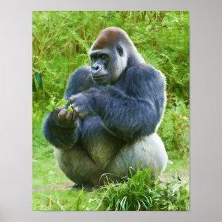 Impresión del gorila póster