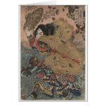 Impresión del grabar en madera de Utagawa Kuniyosh Tarjetón