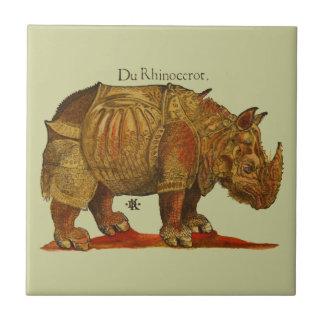Impresión del grabar en madera del rinoceronte del teja