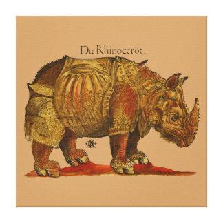 Impresión del grabar en madera del rinoceronte del impresiones de lienzo
