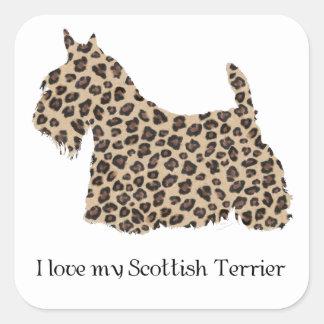 Impresión del guepardo de Terrier del escocés Pegatinas Cuadradas