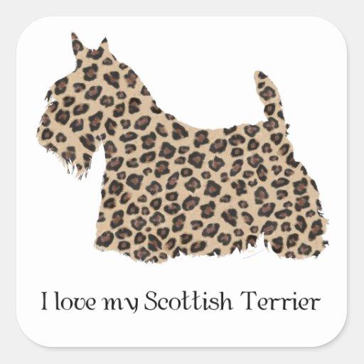 Impresión del guepardo de Terrier del escocés Pegatinas Cuadradas Personalizadas