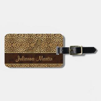 Impresión del guepardo del estilete para la señora etiquetas para maletas