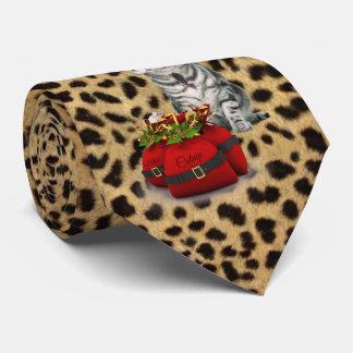 Impresión del guepardo del navidad del gato y del corbata personalizada