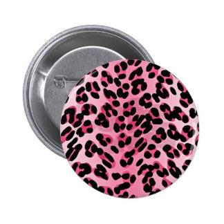 Impresión del guepardo del rosa del Rockabilly de  Pin Redondo 5 Cm