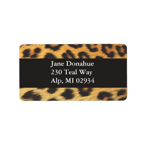 Impresión del guepardo etiqueta de dirección