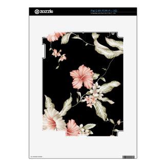 Impresión del hibisco en rosa y negro skin para el iPad 2