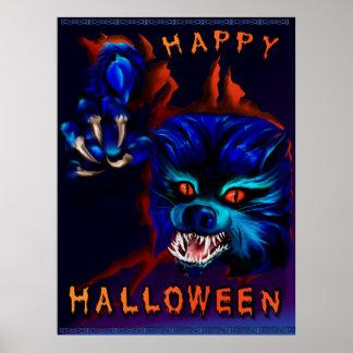 Impresión del hombre lobo de Halloween Póster